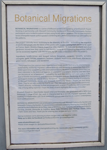 Poster withPoster of information about the Botanical Migrations project