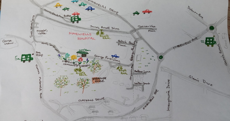 hand drawn map of the area around the Community Garden